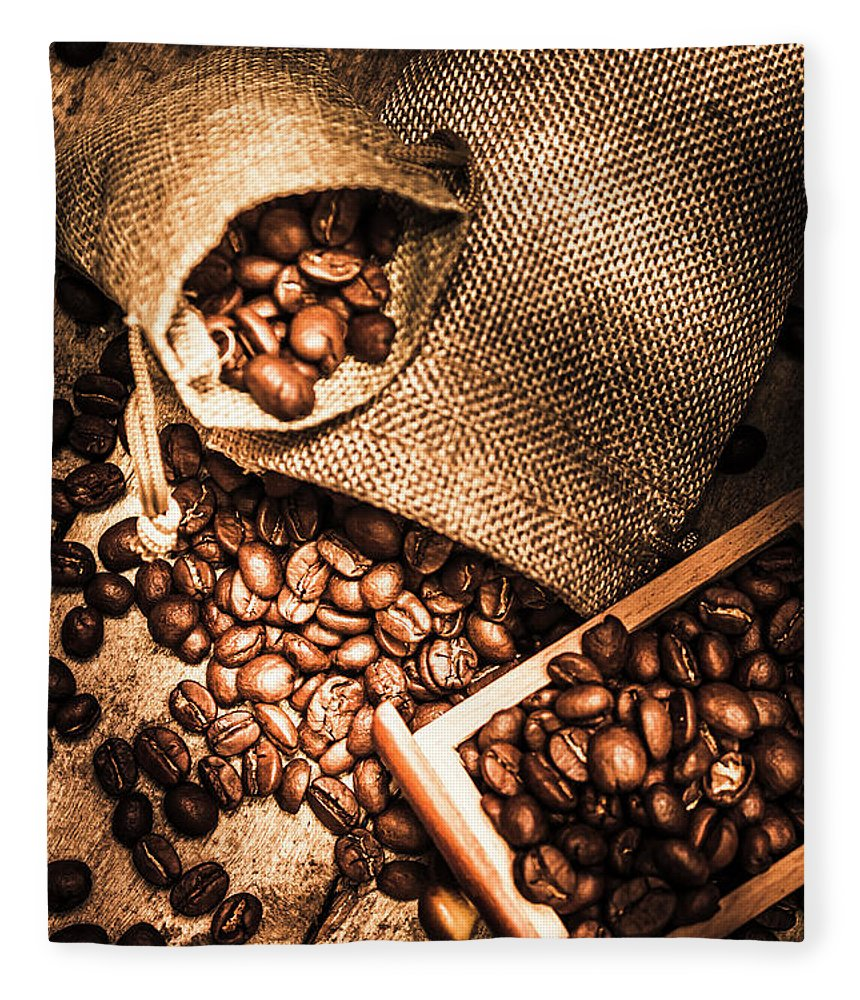 Country Fleece Blanket featuring the photograph Roasted Coffee Beans In Drawer And Bags On Table by Jorgo Photography - Wall Art Gallery