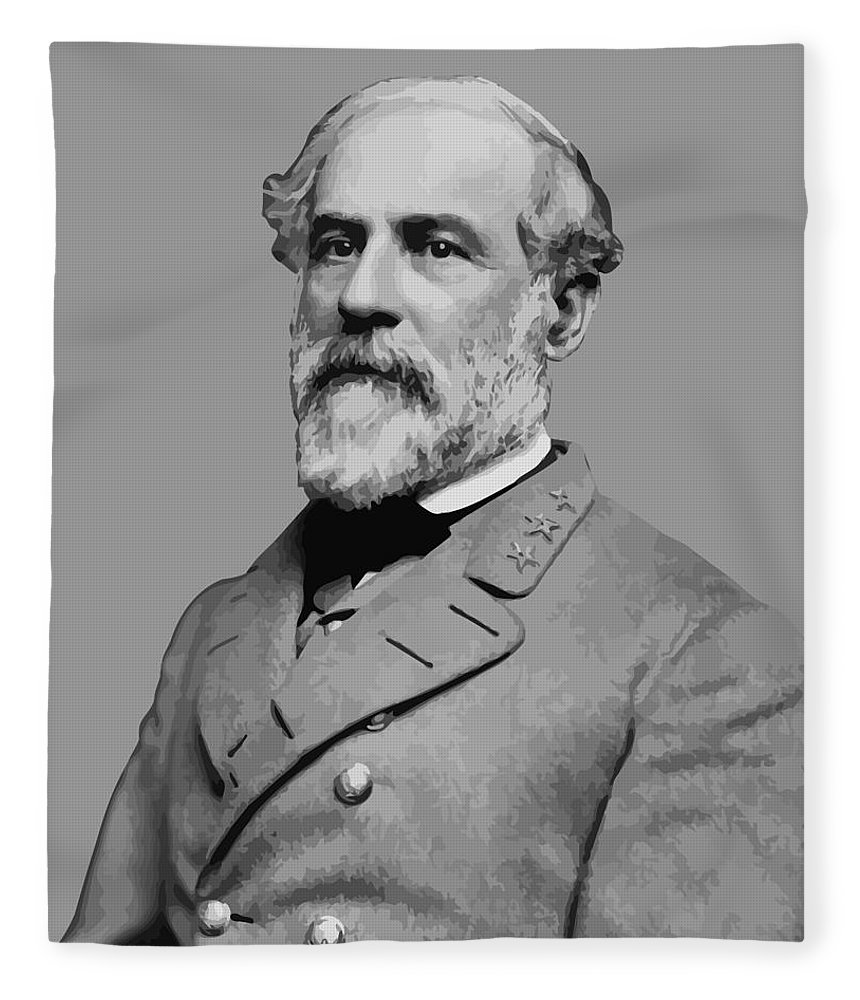 Robert E Lee Fleece Blanket featuring the painting Robert E Lee - Confederate General by War Is Hell Store
