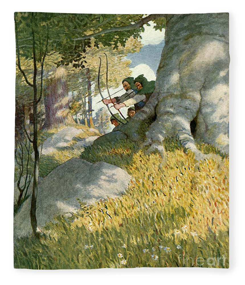 Robin Hood Fleece Blanket featuring the painting Robin Hood And His Companions Rescue Will Stutely by Newell Convers Wyeth