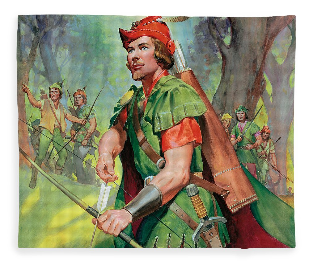 Robin Fleece Blanket featuring the painting Robin Hood by James Edwin McConnell