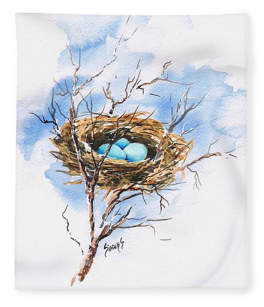 Nest Fleece Blanket featuring the painting Robin's Nest by Sam Sidders