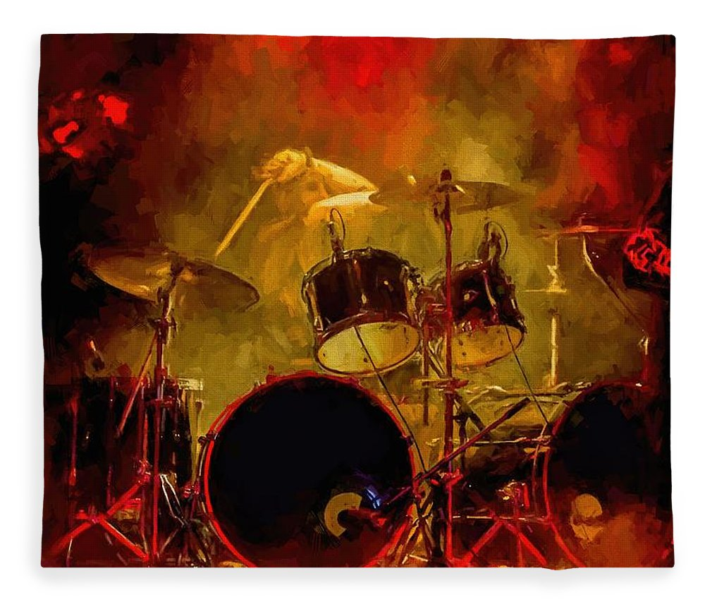 Rock And Roll Drum Solo # Rock And Roll # Drum Set # Rock And Roll Drum Paintings # Abstract Music Art # Zildjian # Drum Solo Painting # Concert # Smoke # Fog # Fleece Blanket featuring the digital art Rock And Roll Drum Solo by Louis Ferreira