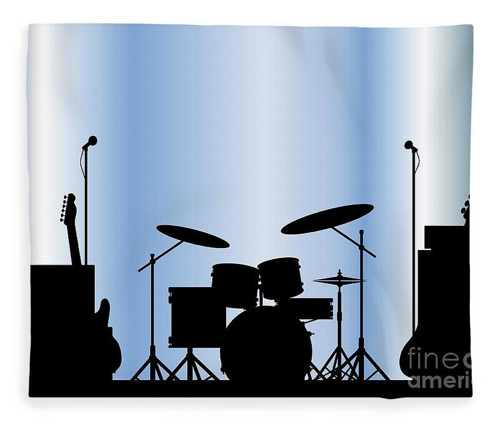 Rock Bandm Guitar Fleece Blanket featuring the digital art Rock Band Equipment by Bigalbaloo Stock