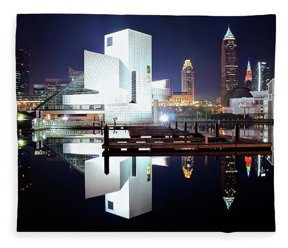 Cleveland Fleece Blanket featuring the photograph Rock N Roll Hall Of Fame by Frozen in Time Fine Art Photography