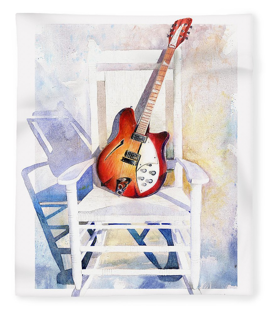 Guitar Fleece Blanket featuring the painting Rock On by Andrew King