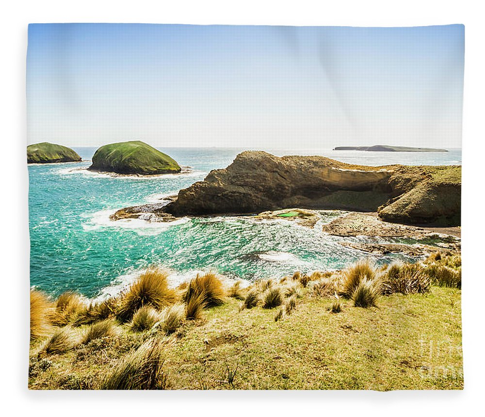 Landscape Fleece Blanket featuring the photograph Rocky Ocean Capes by Jorgo Photography - Wall Art Gallery
