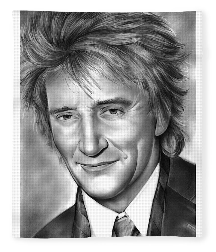 Rod Stewart Fleece Blanket featuring the drawing Rod Stewart by Greg Joens