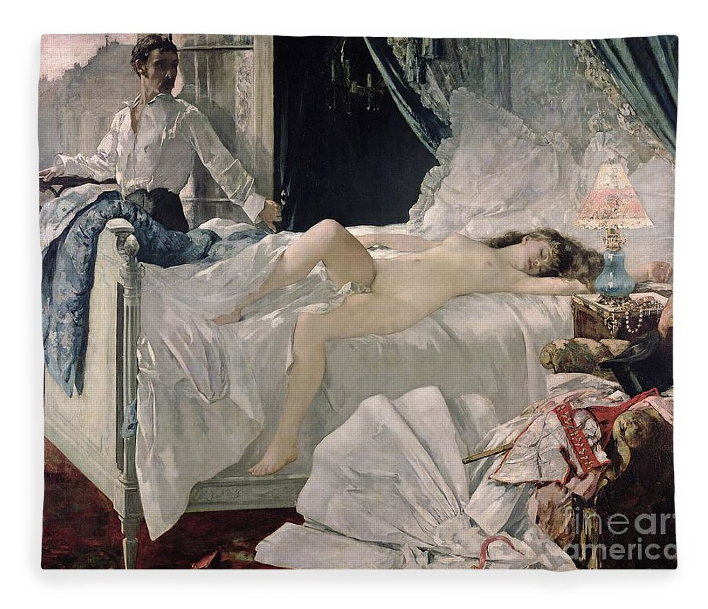 Gervex Fleece Blanket featuring the painting Rolla by Henri Gervex