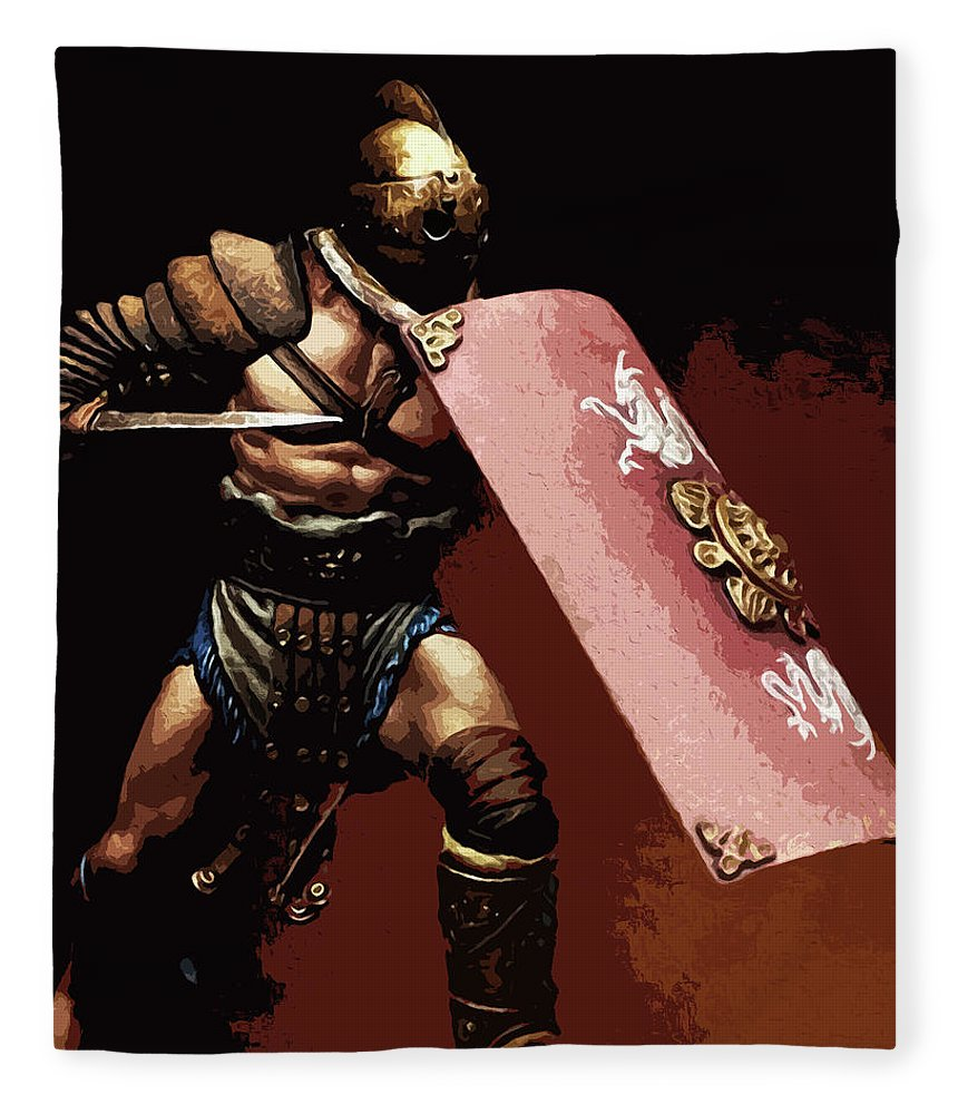 Roman Gladiator Fleece Blanket featuring the painting Roman Gladiator - 03 by Andrea Mazzocchetti