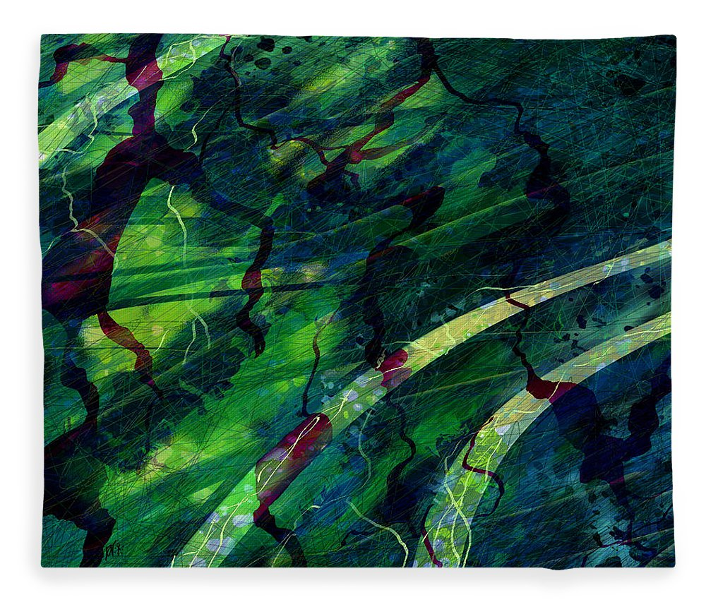 Abstract Fleece Blanket featuring the digital art Root Canal by William Russell Nowicki