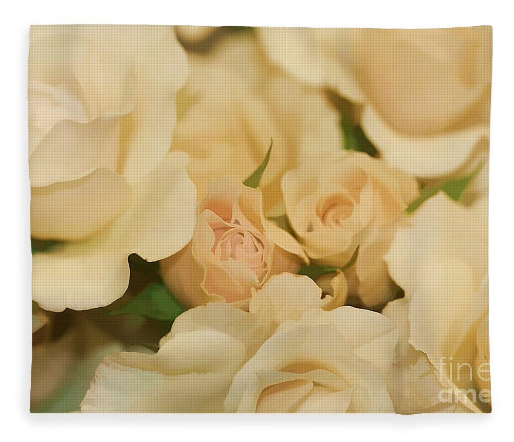 White Fleece Blanket featuring the photograph Rose Bouquet by Deborah Benoit