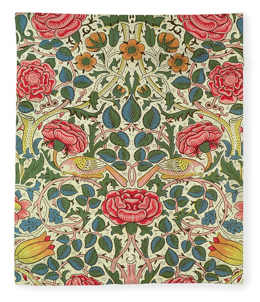 Arts And Crafts Movement; Floral; Pattern; Chintz Fleece Blanket featuring the painting Rose by William Morris