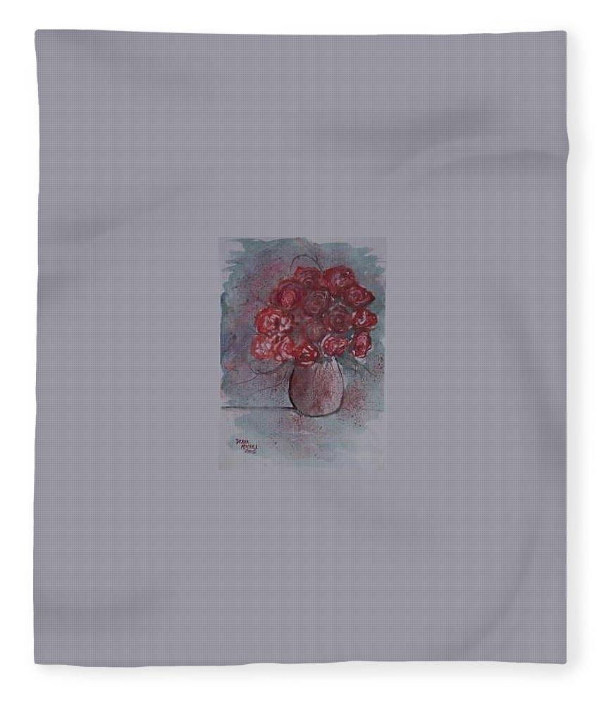 Watercolor Fleece Blanket featuring the painting ROSES still life watercolor floral painting poster print by Derek Mccrea
