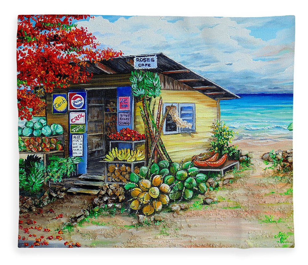 Beach Cafe Fleece Blanket featuring the painting Rosies Beach Cafe by Karin Dawn Kelshall- Best