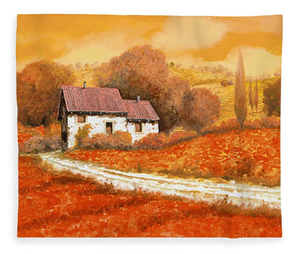 Tuscany Fleece Blanket featuring the painting I papaveri rossi by Guido Borelli