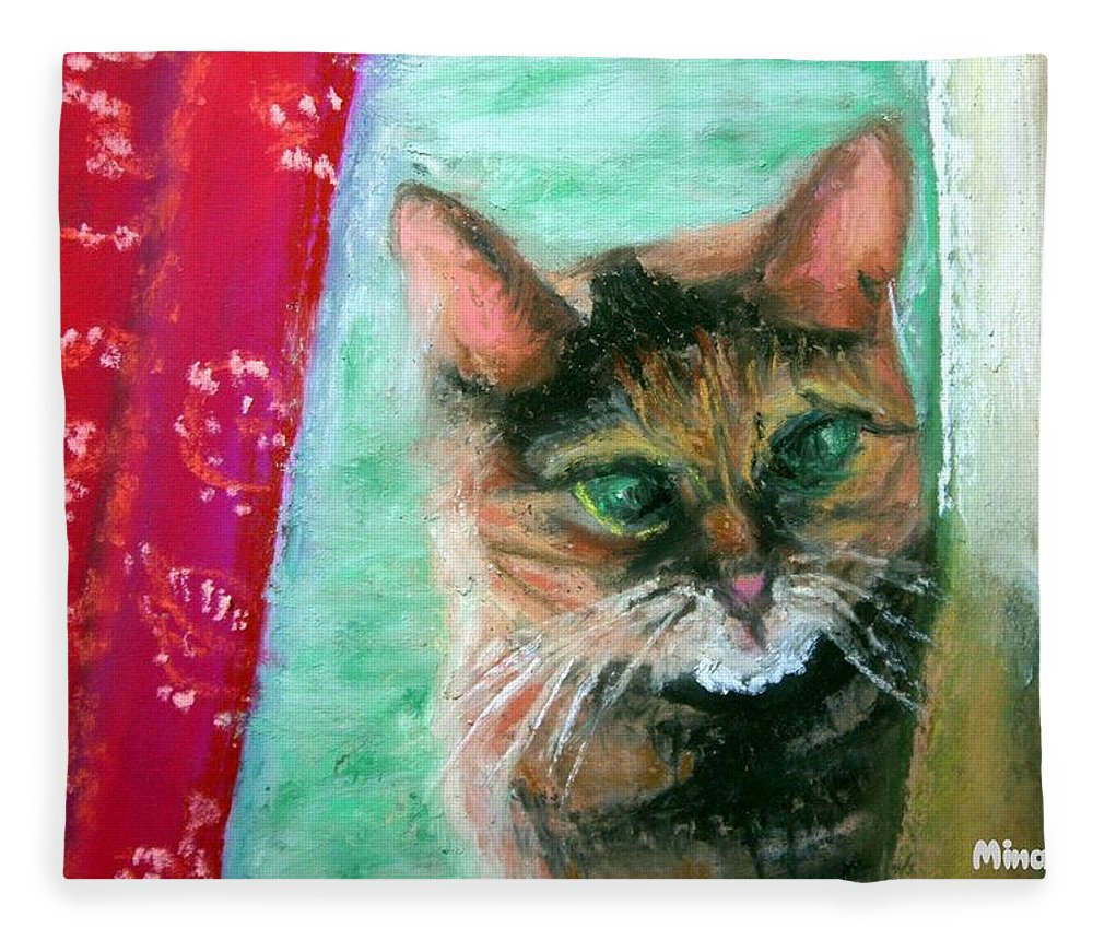 Cat Fleece Blanket featuring the painting Rosy In Color by Minaz Jantz