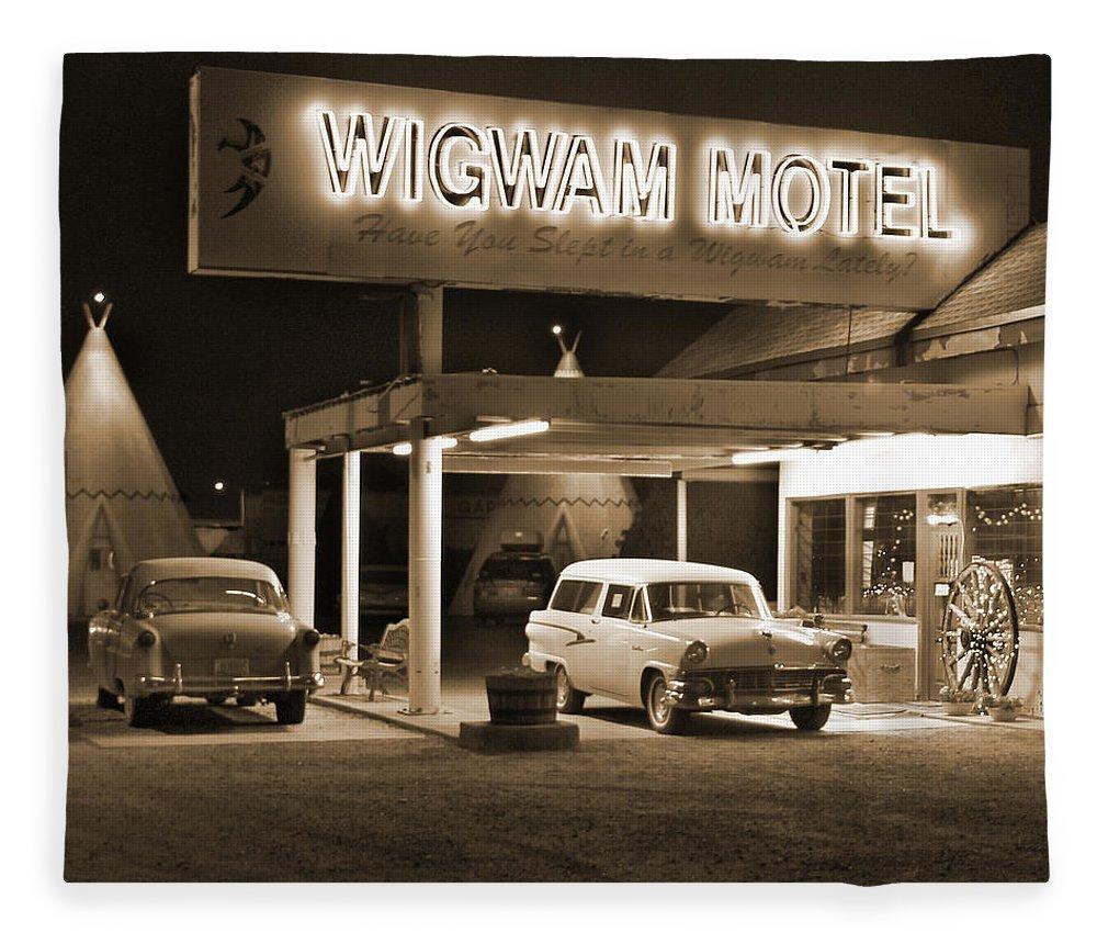Tee Pee Fleece Blanket featuring the photograph Route 66 - Wigwam Motel by Mike McGlothlen
