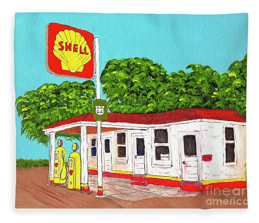 Shell Fleece Blanket featuring the drawing Rt 66 Shell Station by Stephen Bailey
