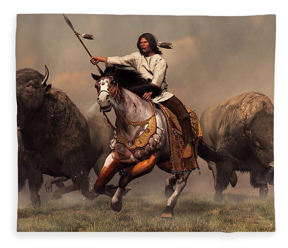 Western Fleece Blanket featuring the digital art Running With Buffalo by Daniel Eskridge