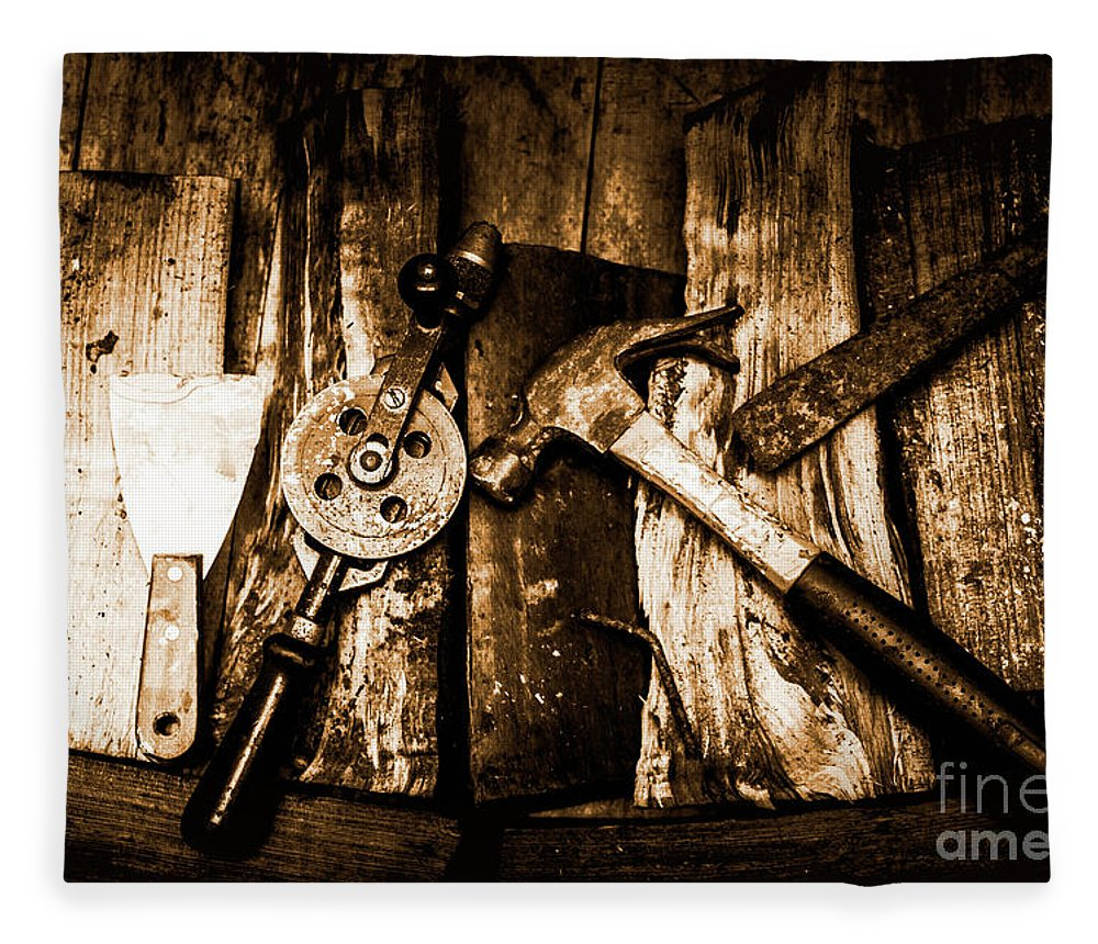 Mining Fleece Blanket featuring the photograph Rusty Old Hand Tools On Rustic Wooden Surface by Jorgo Photography - Wall Art Gallery