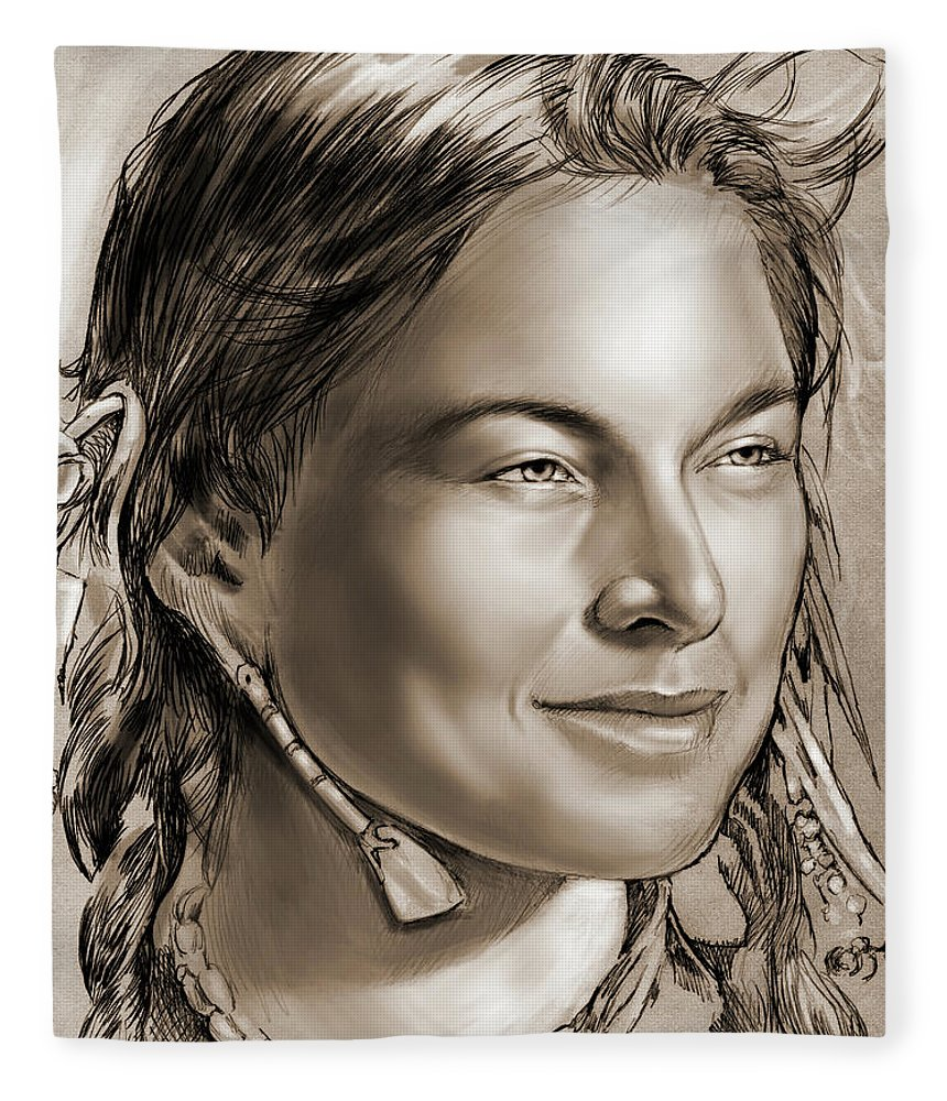 Sacagawea Fleece Blanket featuring the drawing Sacagawea 2 by Greg Joens