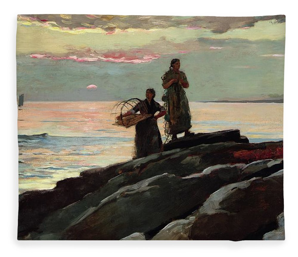 Winslow Homer Fleece Blanket featuring the painting Saco Bay by Winslow Homer