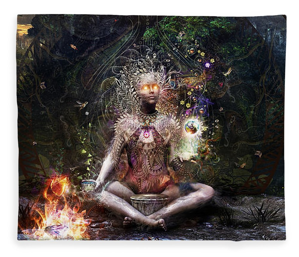 Cameron Gray Fleece Blanket featuring the digital art Sacrament For The Sacred Dreamers by Cameron Gray