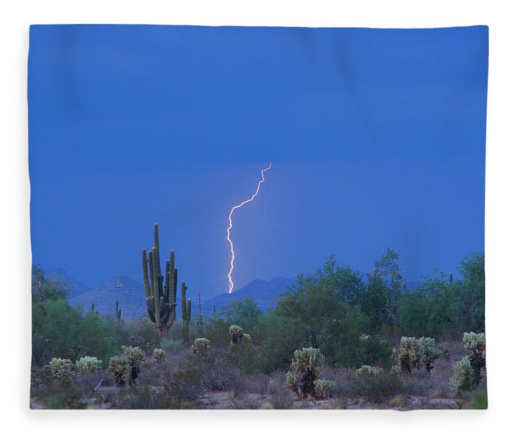 Lightning Fleece Blanket featuring the photograph Saguaro Desert Lightning Strike Fine Art by James BO Insogna