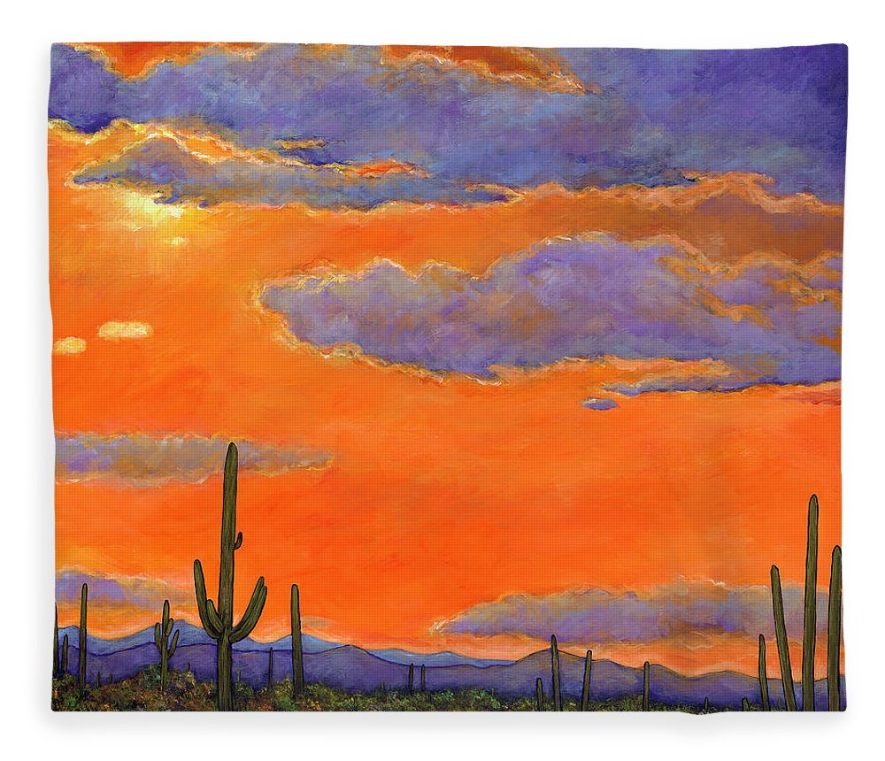 Southwest Art Fleece Blanket featuring the painting Saguaro Sunset by Johnathan Harris