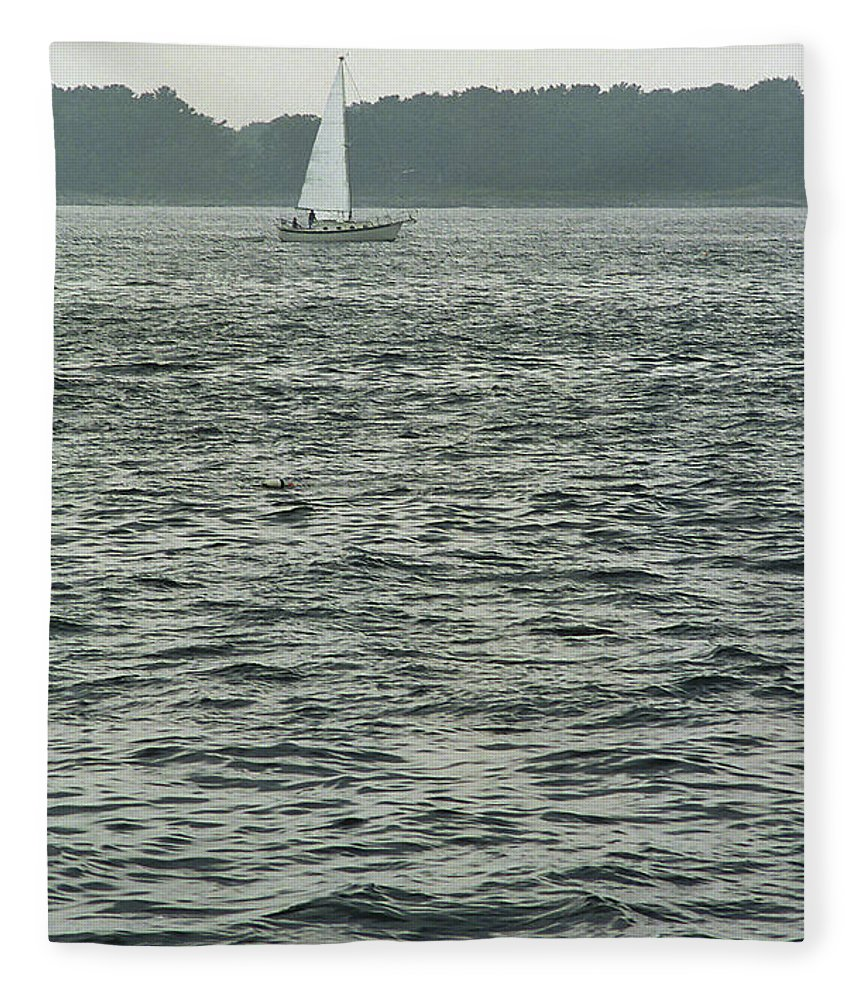 Adventure Fleece Blanket featuring the photograph Sailboat And Waves, Piscataqua River, Maine 2004 by Frank Romeo