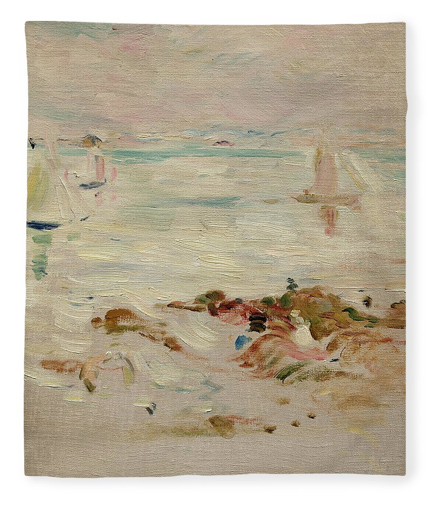 Sailboats Fleece Blanket featuring the painting Sailboats by Berthe Morisot