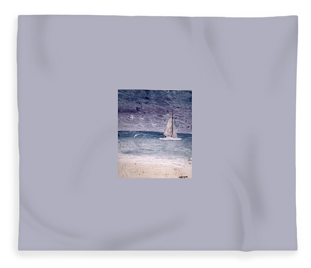 Watercolor Seascape Sailing Boat Landscape Painting Fleece Blanket featuring the painting SAILING AT NIGHT nautical painting print by Derek Mccrea