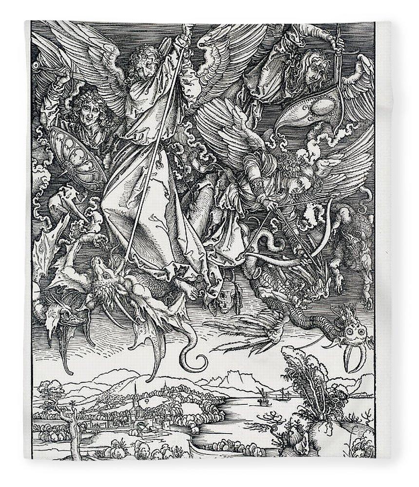 Durer Fleece Blanket featuring the drawing Saint Michael Fighting The Dragon by Albrecht Durer