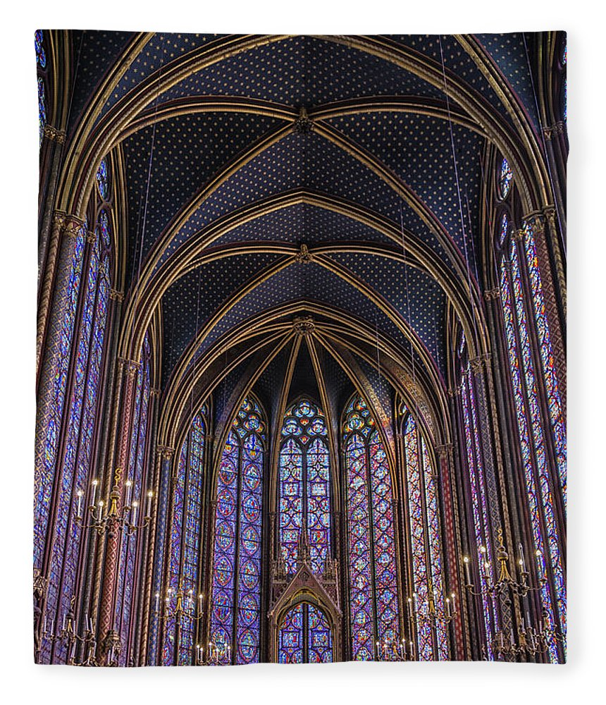 Joan Carroll Fleece Blanket featuring the photograph Sainte Chapelle Stained Glass Paris by Joan Carroll