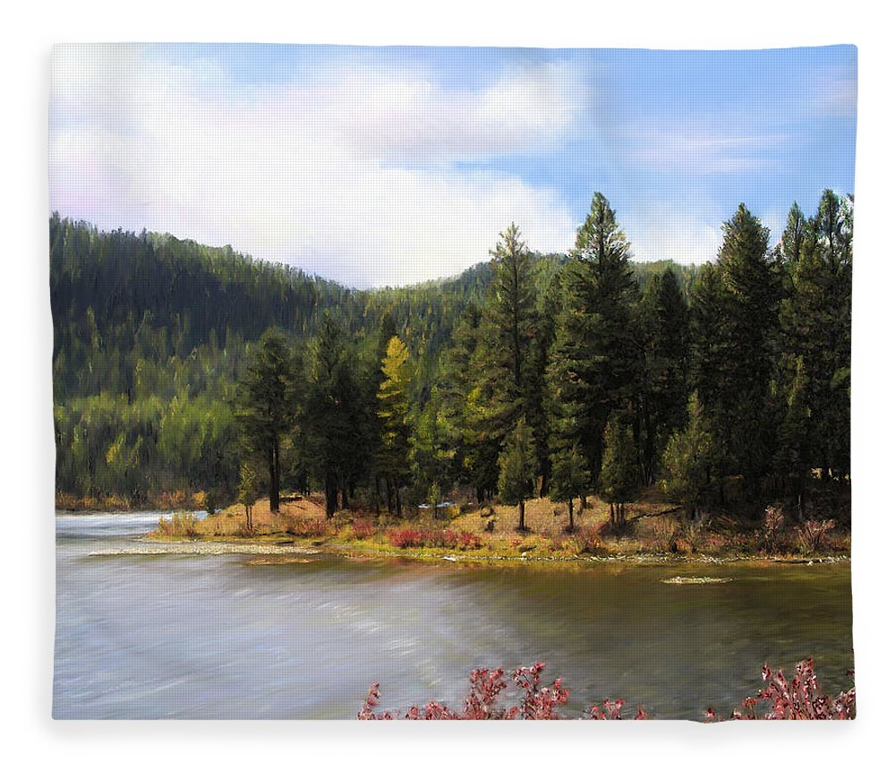 Salmon Lake Fleece Blanket featuring the painting Salmon Lake Montana by Susan Kinney