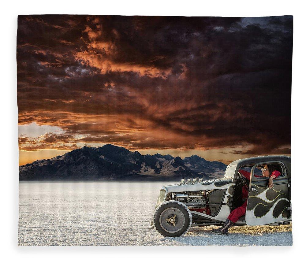 Bonneville Salt Flats Fleece Blanket featuring the photograph Salt Sunset by Keith Berr
