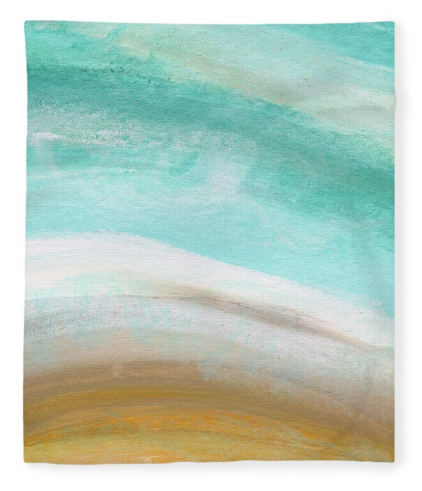 Beach Fleece Blanket featuring the painting Sand and Saltwater- Abstract Art by Linda Woods by Linda Woods