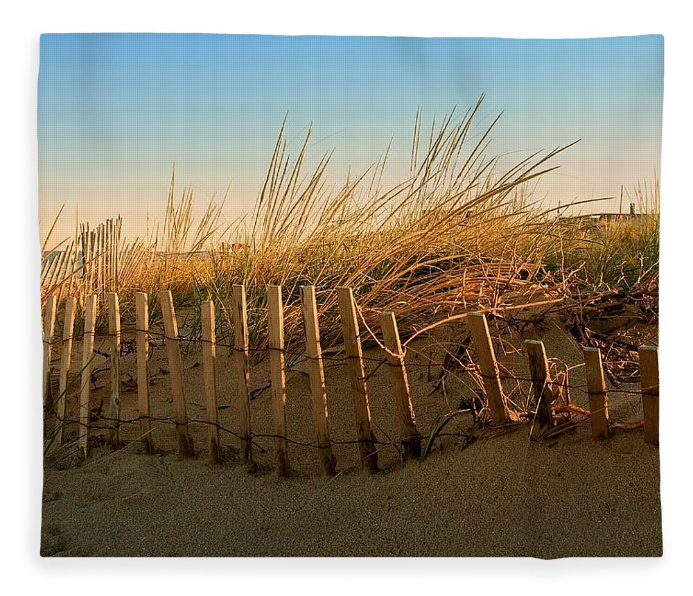 Jersey Shore Fleece Blanket featuring the photograph Sand Dune In Late September - Jersey Shore by Angie Tirado