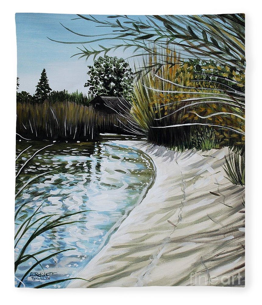 Landscape Fleece Blanket featuring the painting Sandy Reeds by Elizabeth Robinette Tyndall