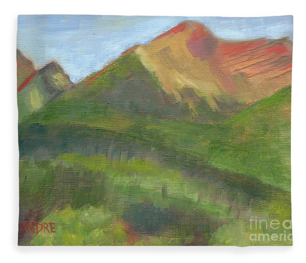 Colorado Fleece Blanket featuring the painting Sangres II by Lilibeth Andre