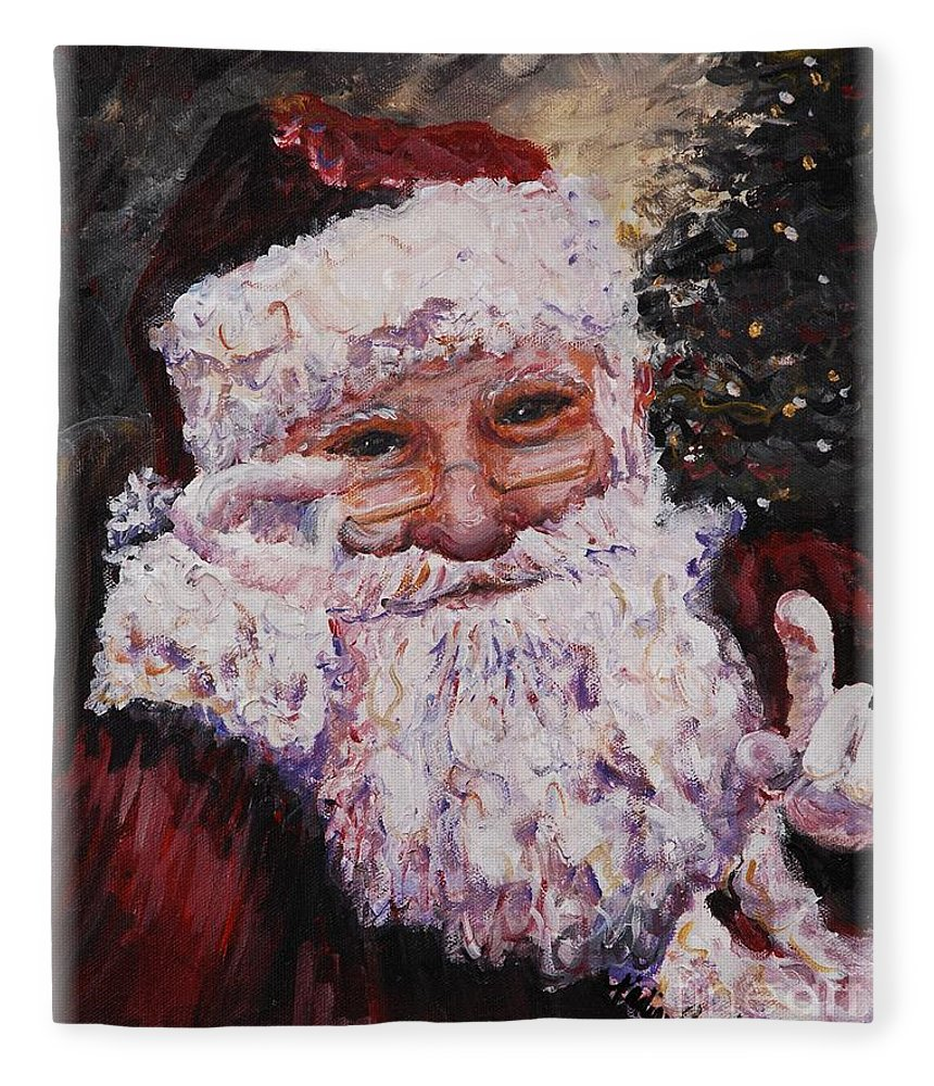Santa Fleece Blanket featuring the painting Santa Chat by Nadine Rippelmeyer