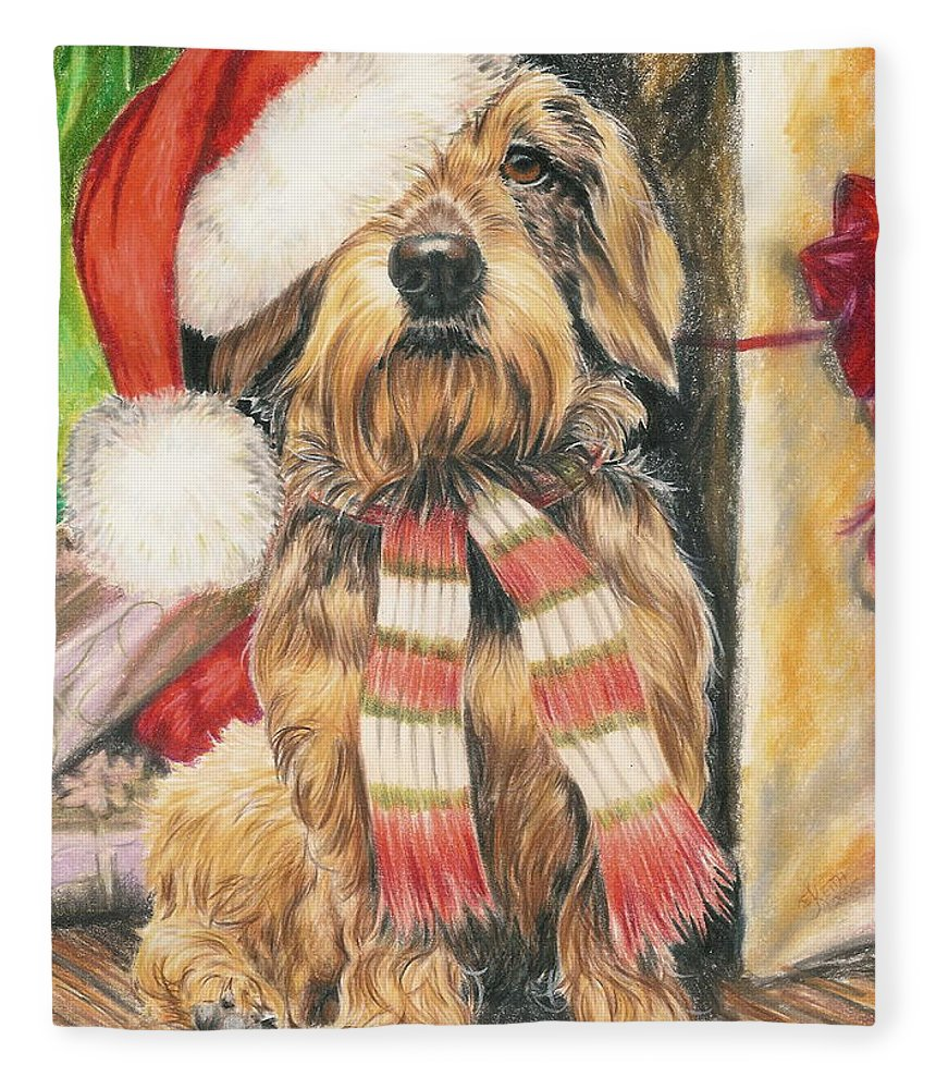 Hound Group Fleece Blanket featuring the drawing Santas Little Yelper by Barbara Keith