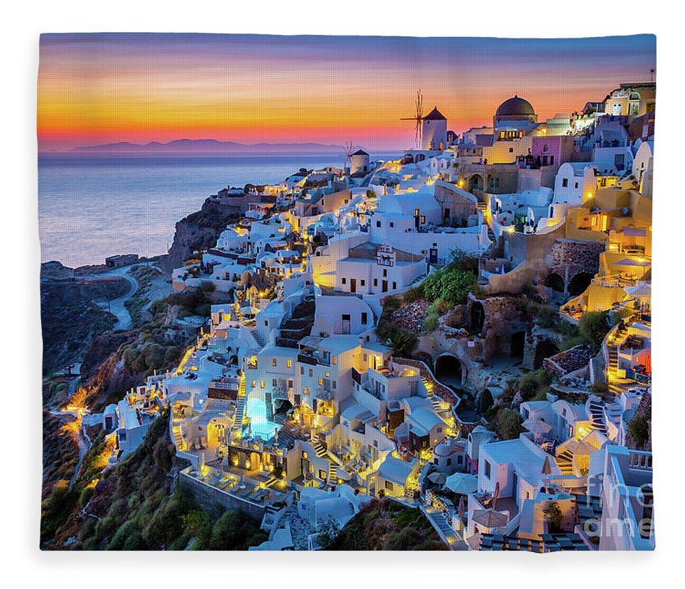 Aegean Sea Fleece Blanket featuring the photograph Santorini Sunset by Inge Johnsson