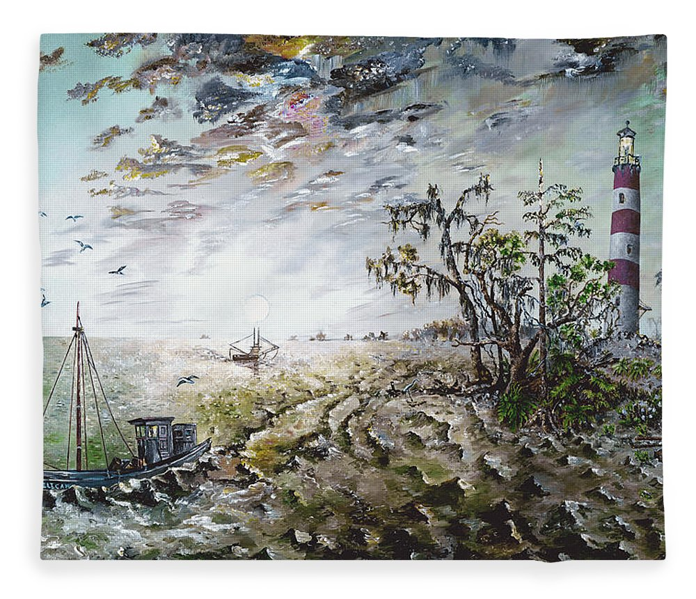 Lighthouse Fleece Blanket featuring the painting Sapelo Island by Richard Barham