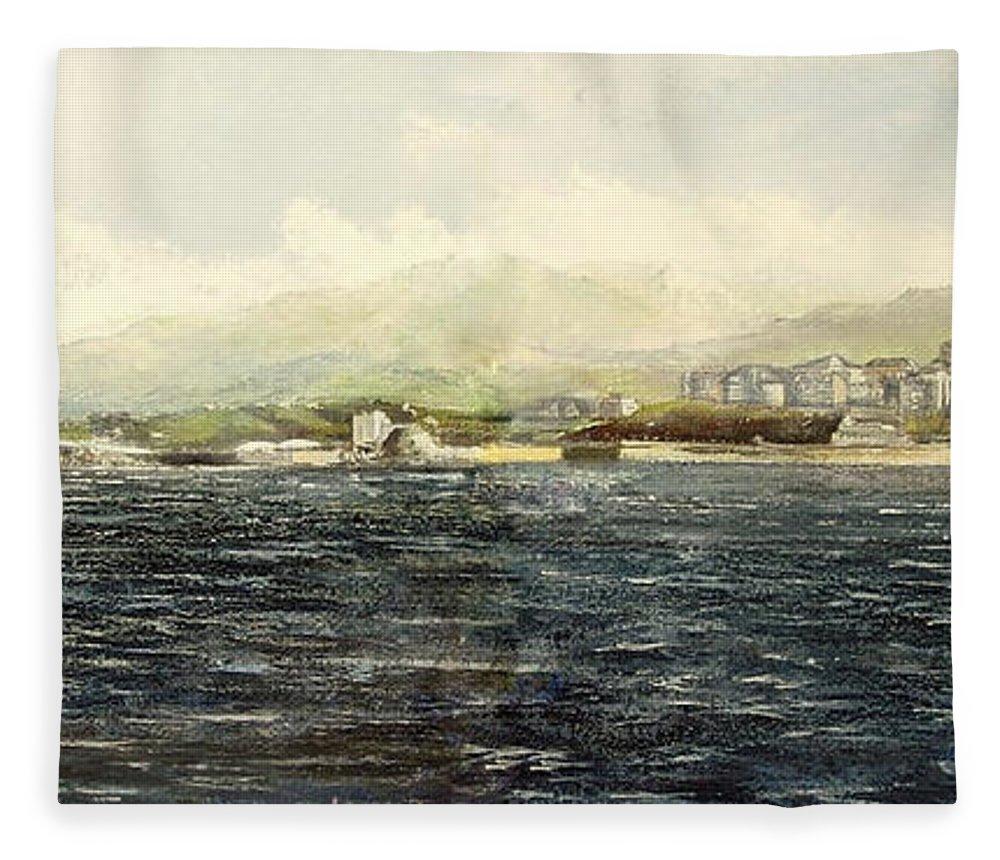 Sardinero Fleece Blanket featuring the painting Sardinero y Magdalena by Tomas Castano
