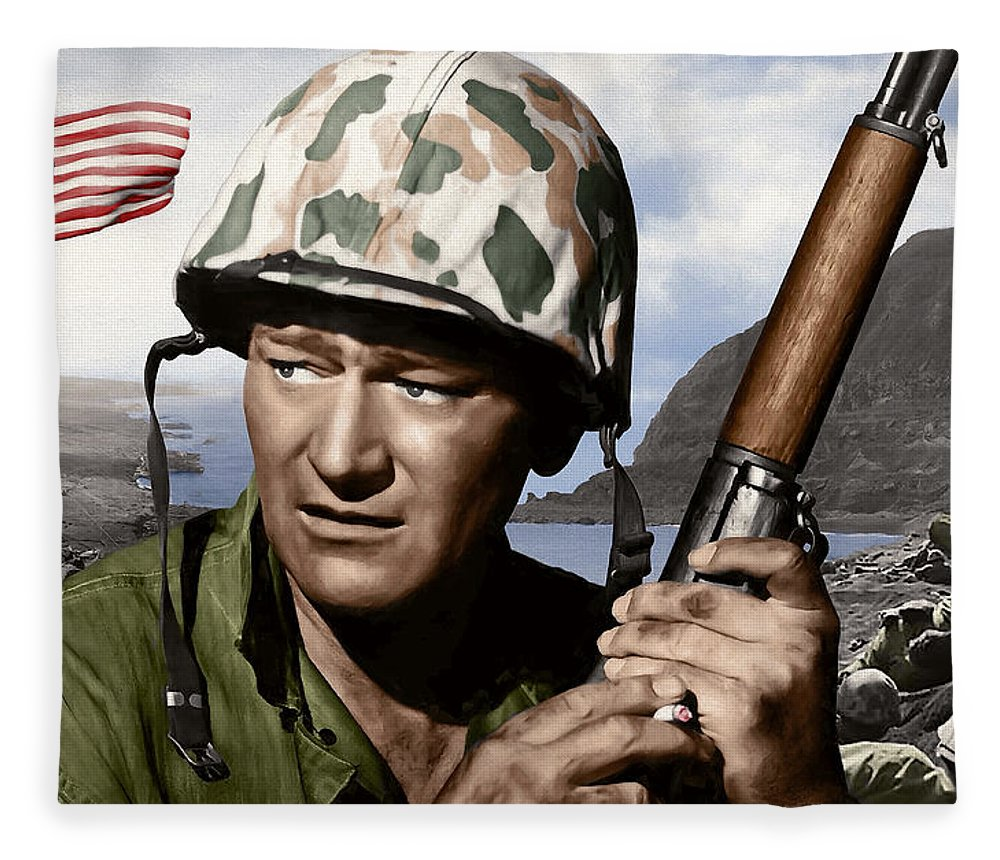 John Wayne Fleece Blanket featuring the digital art Sargent Stryker U S M C Iwo Jima by Daniel Hagerman