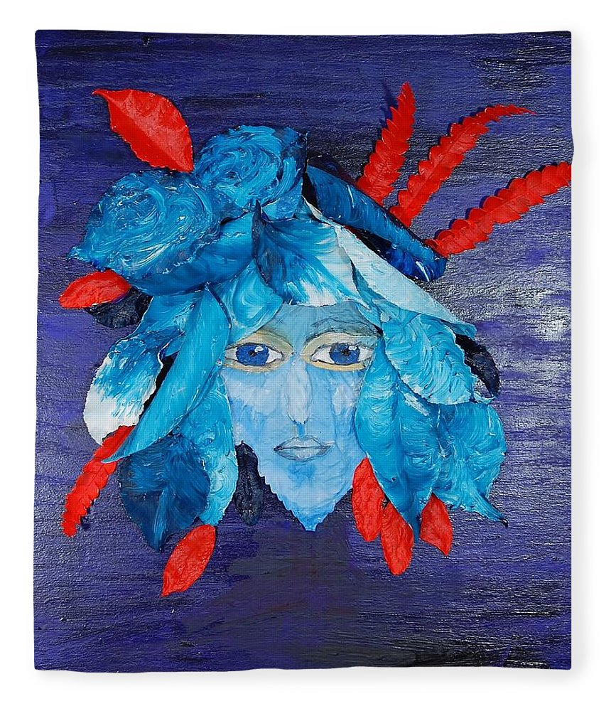 Leaves Fleece Blanket featuring the mixed media Sassy Lady Blue by Charla Van Vlack