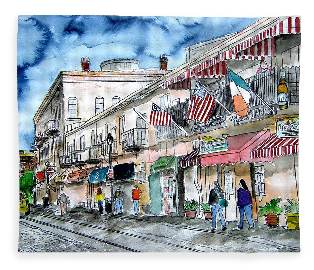 Pen And Ink Fleece Blanket featuring the painting Savannah Georgia River Street by Derek Mccrea
