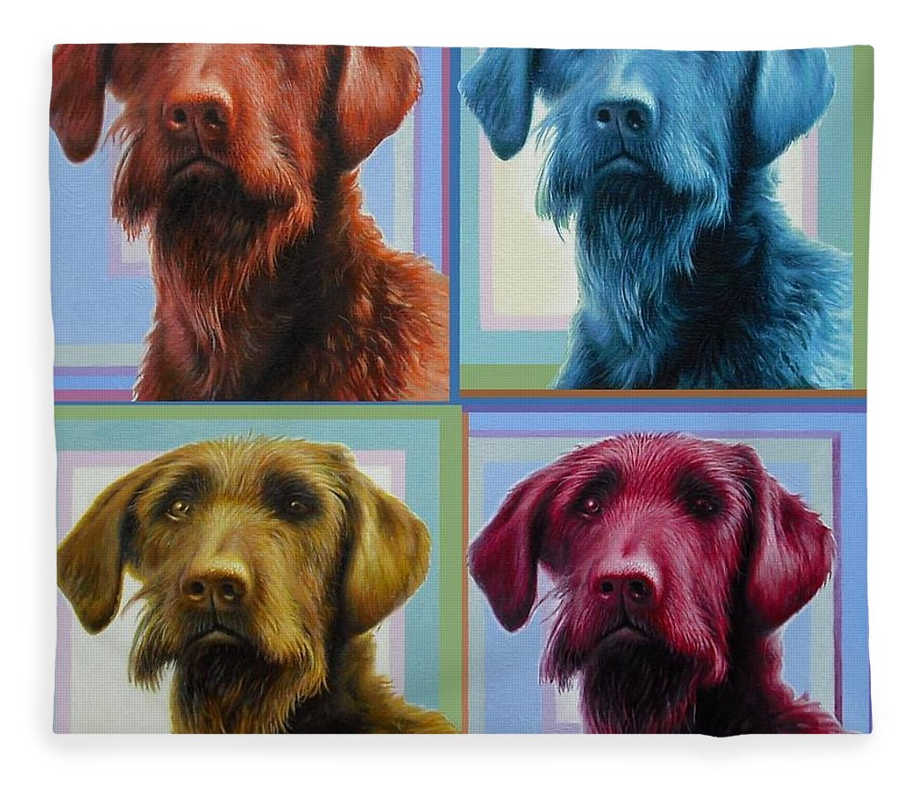 Dog Fleece Blanket featuring the painting Savannah The Labradoodle by Hans Droog