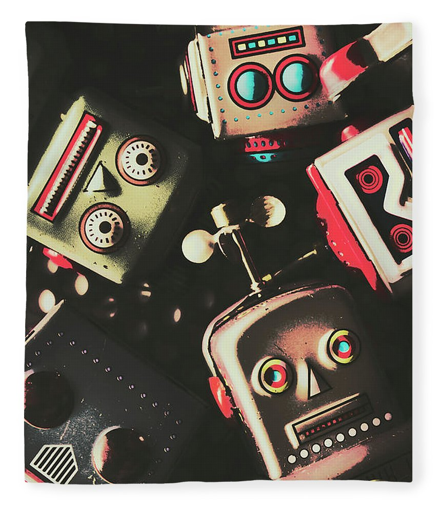 Head Fleece Blanket featuring the photograph Science Fiction Robotic Faces by Jorgo Photography - Wall Art Gallery